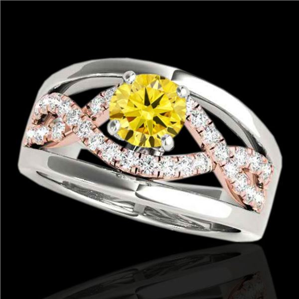 1.3 ctw Certified SI Fancy Yellow Diamond Solitaire Ring 10k 2Tone Gold - REF-190F9M