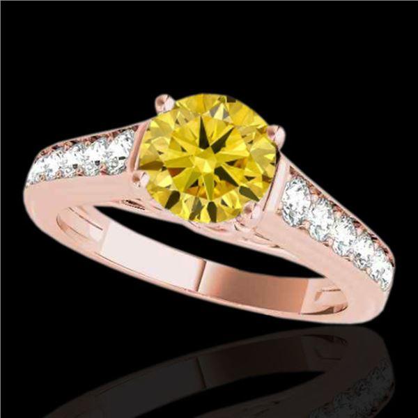 1.5 ctw Certified SI/I Fancy Intense Yellow Diamond Ring 10k Rose Gold - REF-204R5K