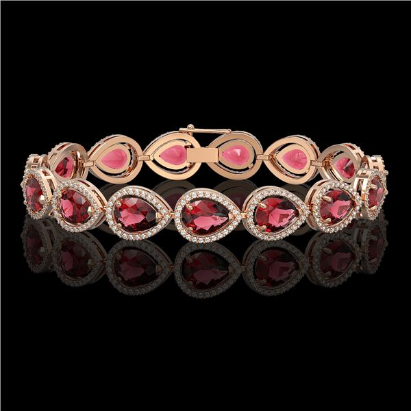 19.7 ctw Tourmaline & Diamond Micro Pave Halo Bracelet 10k Rose Gold - REF-509F3M