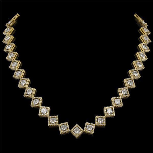 26.88 ctw Princess Cut Diamond Micro Pave Necklace 18K Yellow Gold - REF-3684N3F