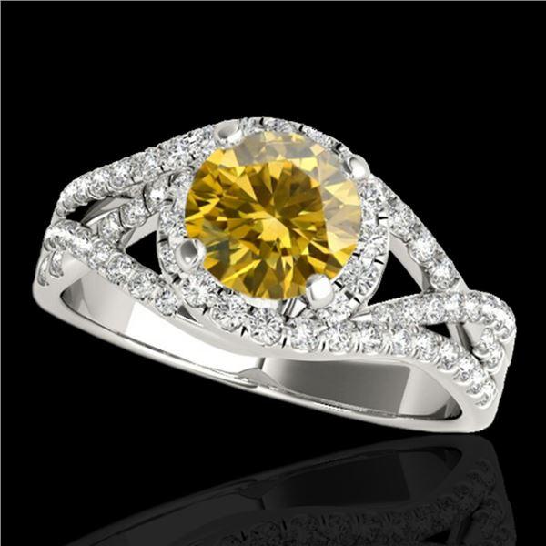 1.5 ctw Certified SI Fancy Intense Diamond Halo Ring 10k White Gold - REF-197H8R