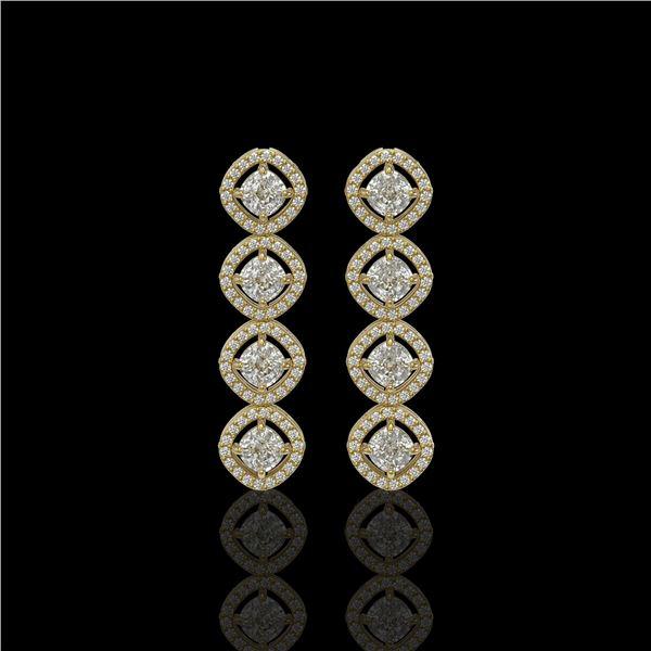 3.84 ctw Cushion Cut Diamond Micro Pave Earrings 18K Yellow Gold - REF-337G5W