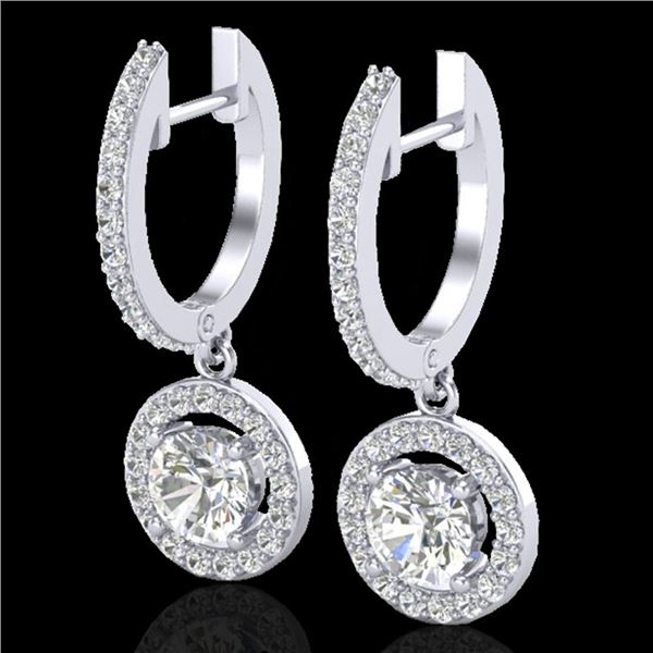 1.75 ctw Micro Pave VS/SI Diamond Certified Earrings 18k White Gold - REF-219M8G
