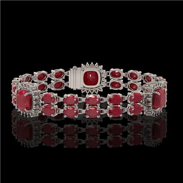 21.83 ctw Ruby & Diamond Bracelet 14K White Gold - REF-288Y8X