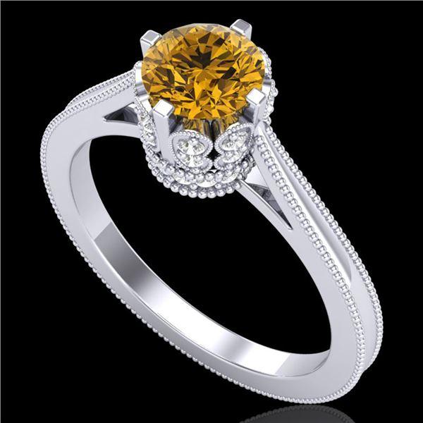 1.14 ctw Intense Fancy Yellow Diamond Art Deco Ring 18k White Gold - REF-218A2N