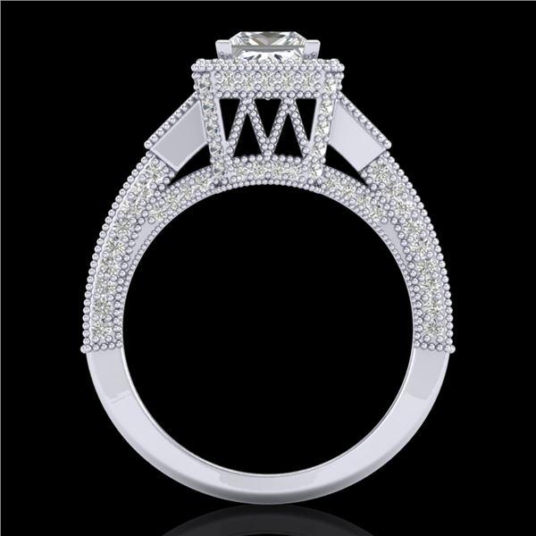 3.53 ctw Princess VS/SI Diamond Micro Pave 3 Stone Ring 18k White Gold - REF-540Y9X
