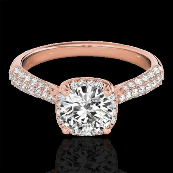 1.50 ctw Certified Diamond Solitaire Halo Ring 10k Rose Gold - REF-204H5R