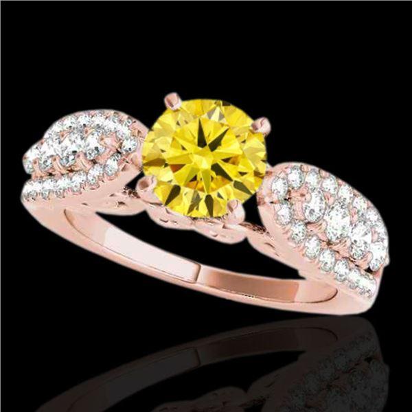 1.7 ctw Certified SI/I Fancy Intense Yellow Diamond Ring 10k Rose Gold - REF-215N5F
