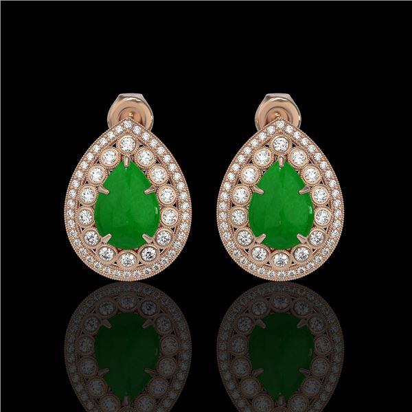 7.74 ctw Jade & Diamond Victorian Earrings 14K Rose Gold - REF-218F2M