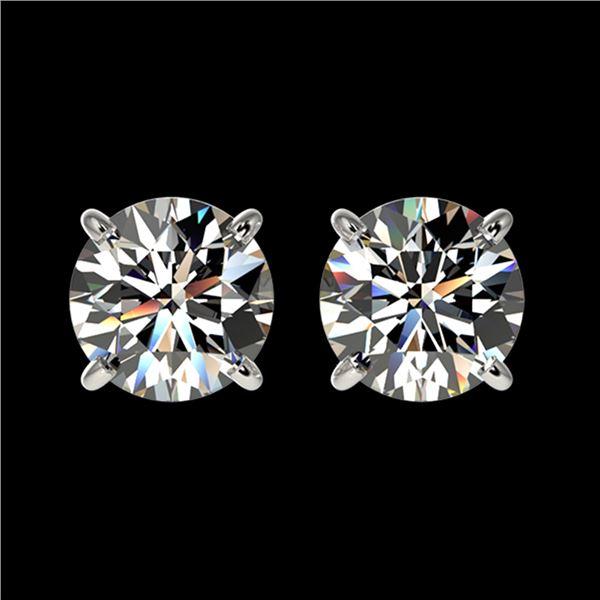 1.52 ctw Certified Quality Diamond Stud Earrings 10k White Gold - REF-127G5W