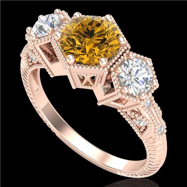 1.66 ctw Intense Fancy Yellow Diamond Art Deco Ring 18k Rose Gold - REF-338X2A