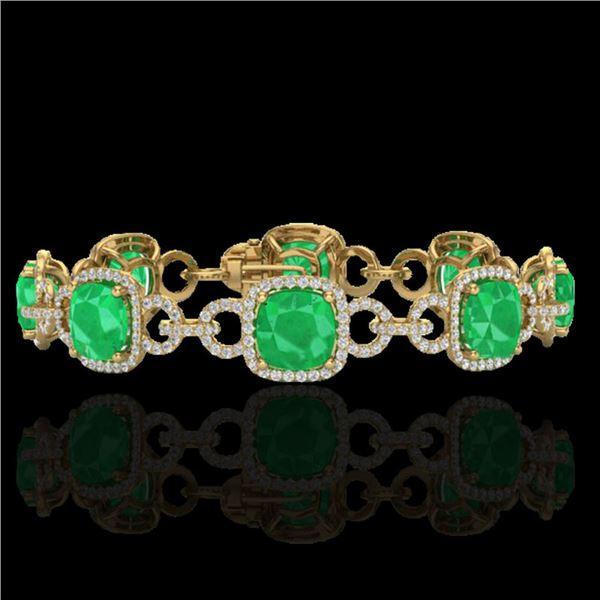 25 ctw Emerald & Micro VS/SI Diamond Certified Bracelet 14k Yellow Gold - REF-457A3N