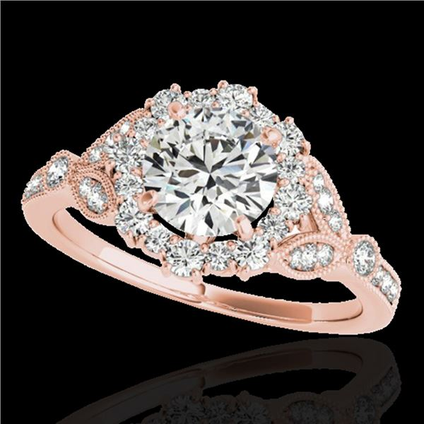 1.5 ctw Certified Diamond Solitaire Halo Ring 10k Rose Gold - REF-190H9R