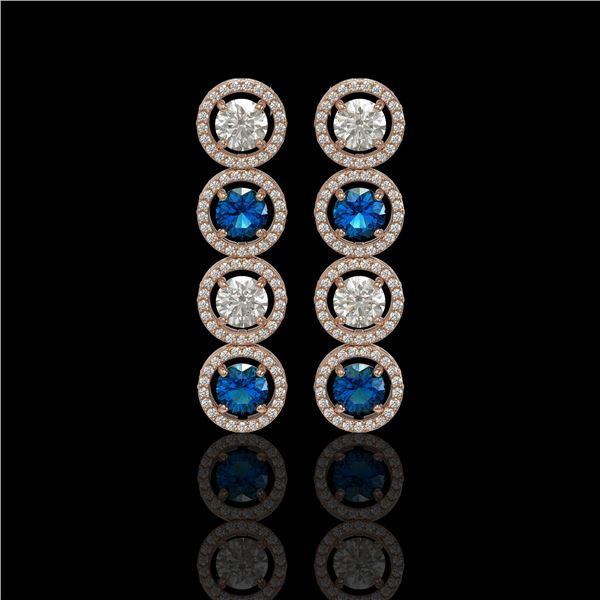 5.42 ctw Blue & Diamond Micro Pave Earrings 18K Rose Gold - REF-513K8Y