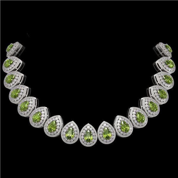 124.02 ctw Tourmaline & Diamond Victorian Necklace 14K White Gold - REF-3955R5K