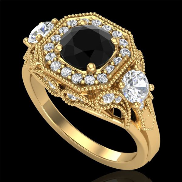 2.11 ctw Fancy Black Diamond Art Deco 3 Stone Ring 18k Yellow Gold - REF-180M2G
