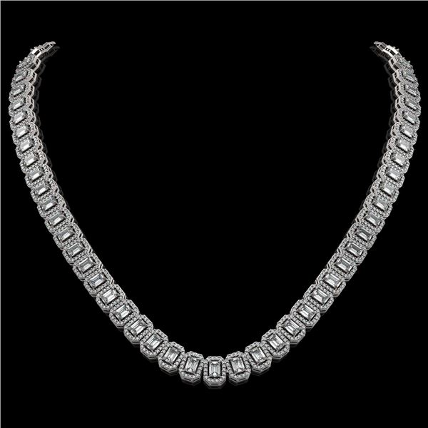 26.11 ctw Emerald Cut Diamond Micro Pave Necklace 18K White Gold - REF-3101A2N