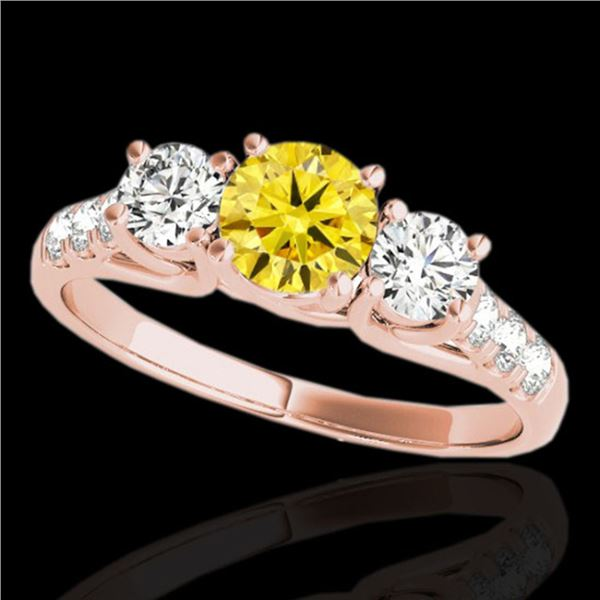 3.25 ctw SI/I Fancy Intense Yellow Diamond 3 Stone Ring 10k Rose Gold - REF-295K9Y