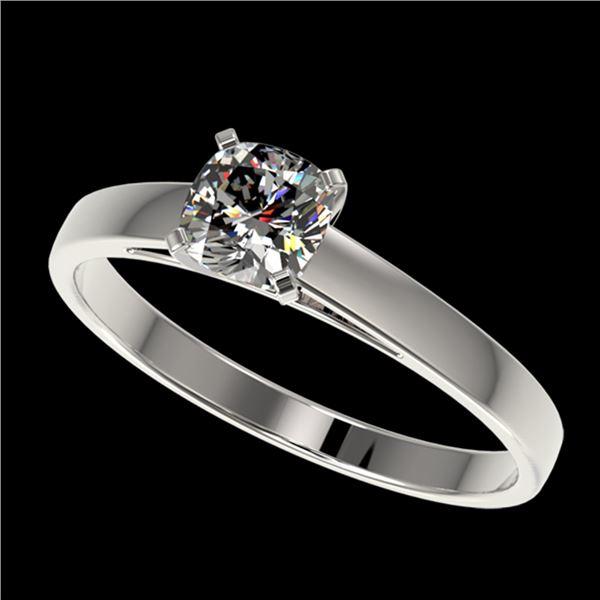 0.50 ctw Certified VS/SI Quality Cushion Cut Diamond Ring 10k White Gold - REF-60W3H
