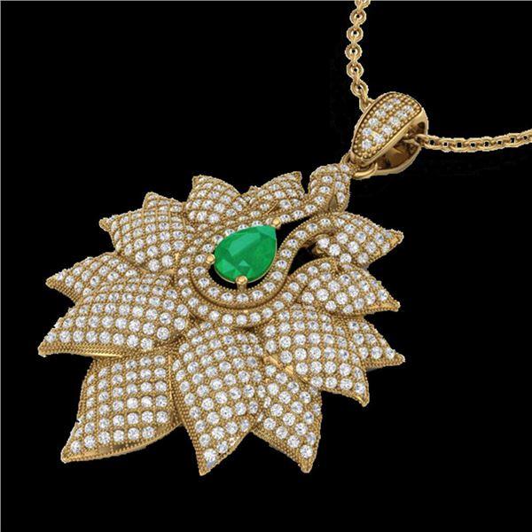 3 ctw Emerald & Micro VS/SI Diamond Designer Necklace 18k Yellow Gold - REF-290Y9X