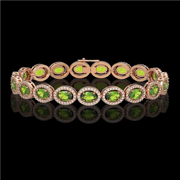 13.87 ctw Peridot & Diamond Micro Pave Halo Bracelet 10k Rose Gold - REF-263W6H