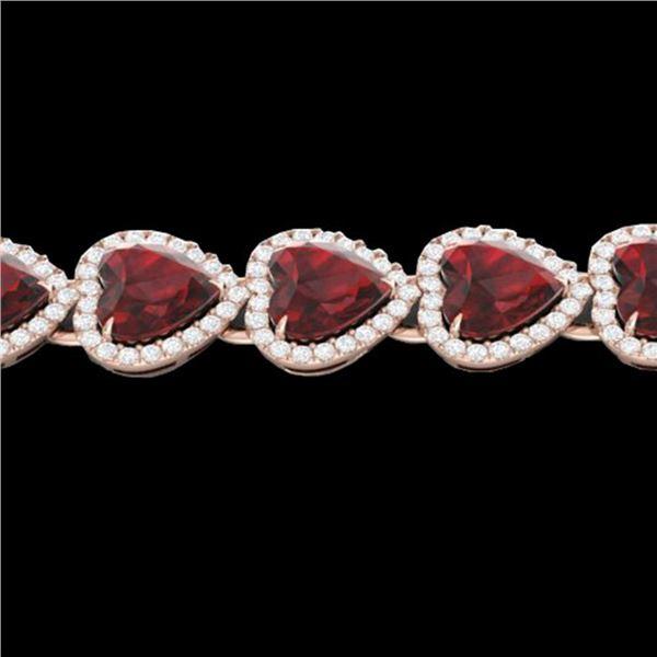 25 ctw Garnet & Micro Pave VS/SI Diamond Bracelet Heart 14k Rose Gold - REF-415Y5X