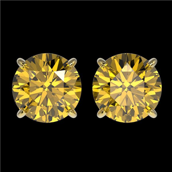 2.50 ctw Certified Intense Yellow Diamond Stud Earrings 10k Yellow Gold - REF-349A8N
