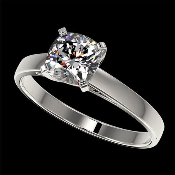 1 ctw Certified VS/SI Quality Cushion Cut Diamond Ring 10k White Gold - REF-243K2Y