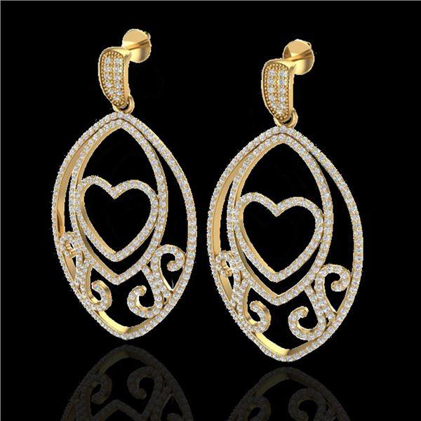 3.20 ctw Micro Pave VS/SI Diamond Heart Earrings 18k Yellow Gold - REF-252F3M