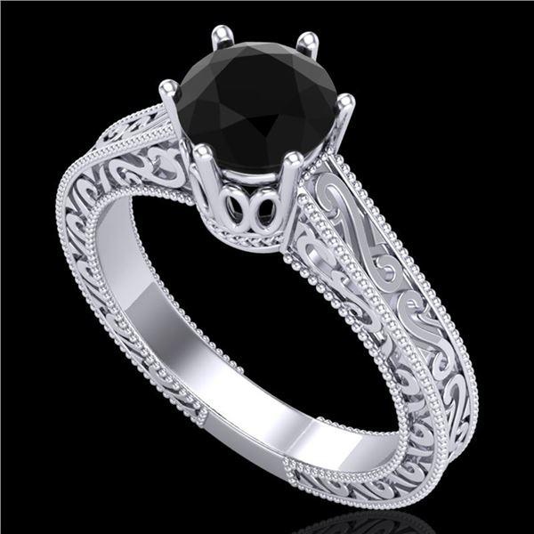 1 ctw Fancy Black Diamond Engagment Art Deco Ring 18k White Gold - REF-105A5N