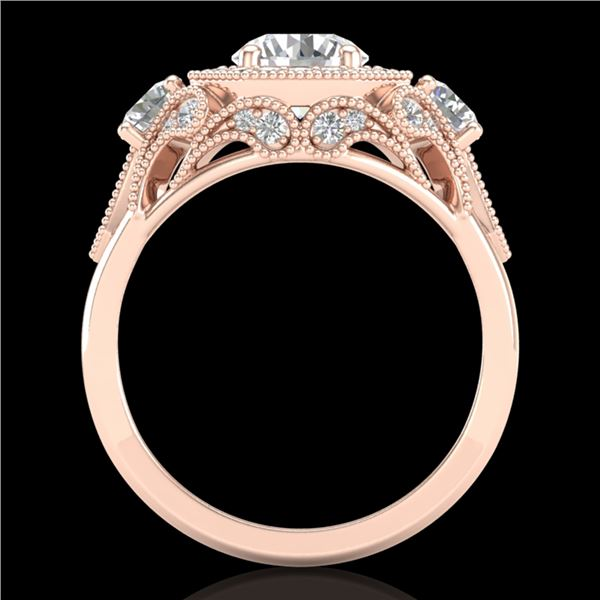 2.11 ctw VS/SI Diamond Solitaire Art Deco 3 Stone Ring 18k Rose Gold - REF-490W9H
