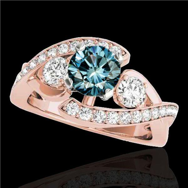 1.76 ctw SI Certified Fancy Blue Diamond Bypass Ring 10k Rose Gold - REF-170W5H