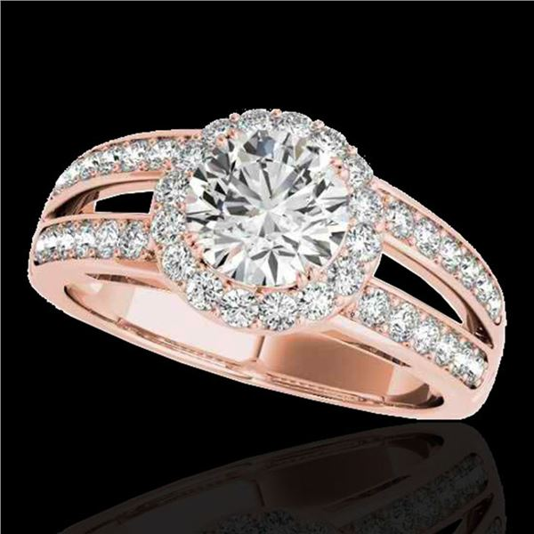 1.6 ctw Certified Diamond Solitaire Halo Ring 10k Rose Gold - REF-214H3R