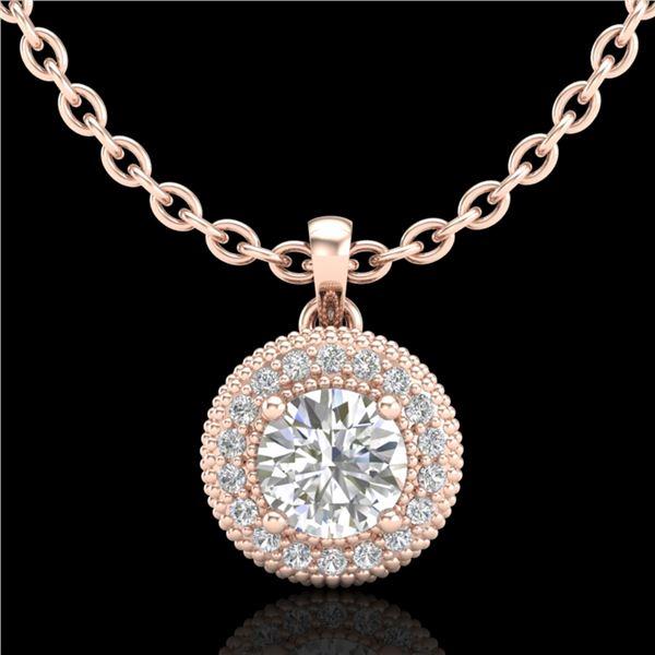 1 ctw VS/SI Diamond Solitaire Art Deco Stud Necklace 18k Rose Gold - REF-180Y2X