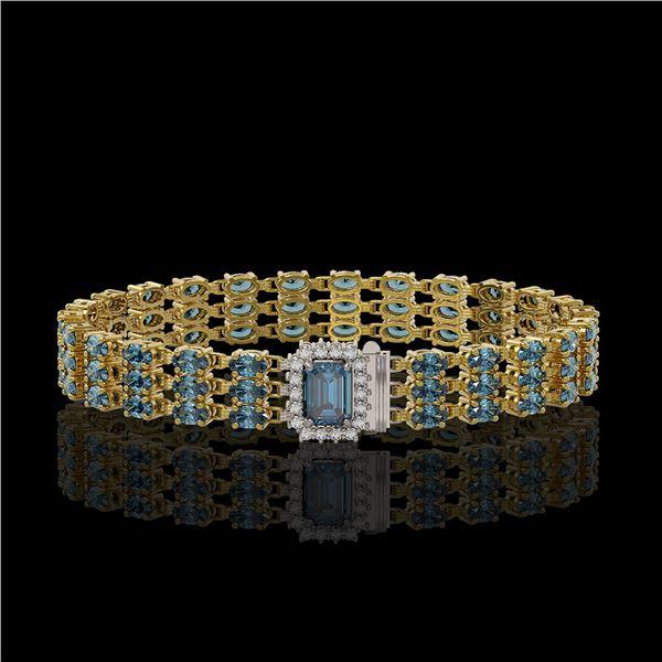 26.02 ctw London Topaz & Diamond Bracelet 14K Yellow Gold - REF-318K2Y