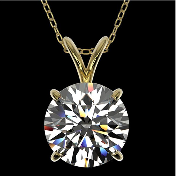 2 ctw Certified Quality Diamond Solitaire Necklace 10k Yellow Gold - REF-449Y5X
