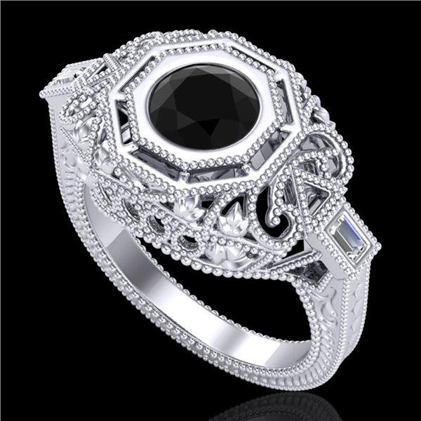 1.13 ctw Fancy Black Diamond Engagment Art Deco Ring 18k White Gold - REF-140K2Y