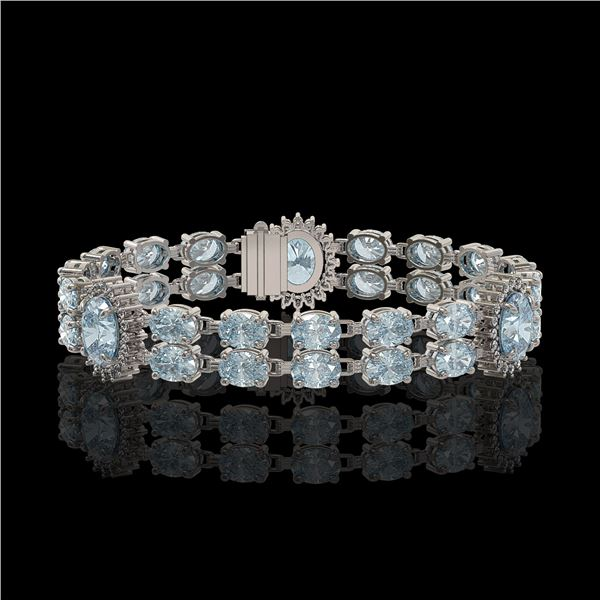 19.3 ctw Sky Topaz & Diamond Bracelet 14K White Gold - REF-254K5Y