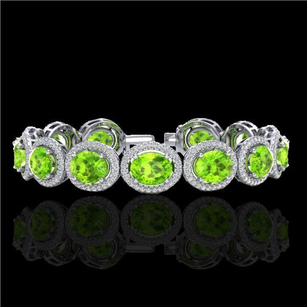 27 ctw Peridot & Micro Pave VS/SI Diamond Bracelet 10k White Gold - REF-409R3K
