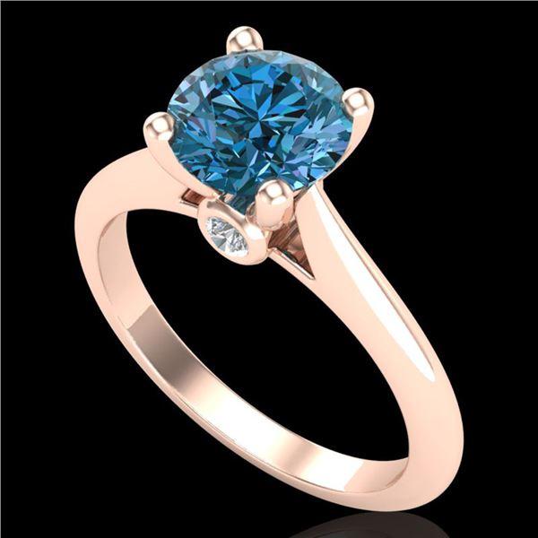1.6 ctw Intense Blue Diamond Engagment Art Deco Ring 18k Rose Gold - REF-216M8G