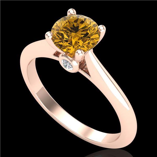 1.08 ctw Intense Fancy Yellow Diamond Art Deco Ring 18k Rose Gold - REF-177G3W