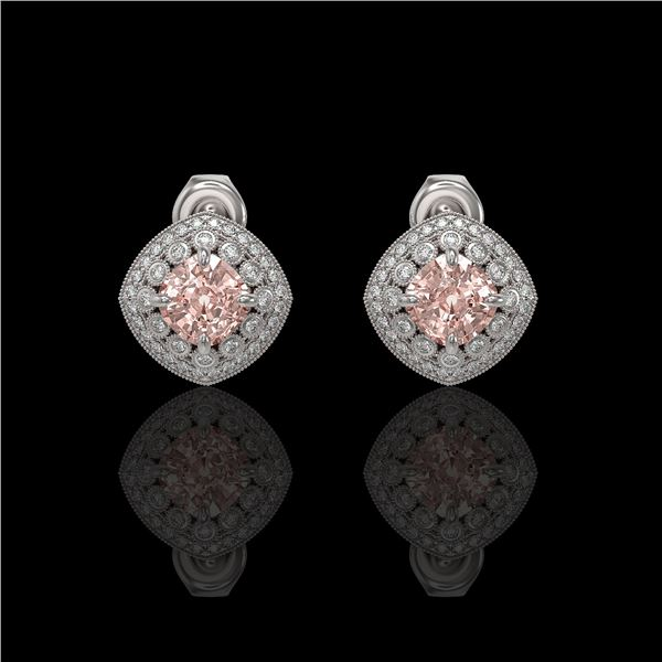 4.19 ctw Morganite & Diamond Victorian Earrings 14K White Gold - REF-142W8H