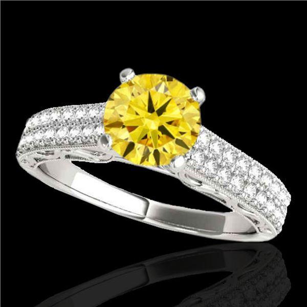 1.91 ctw Certified SI Intense Yellow Diamond Antique Ring 10k White Gold - REF-354M5G