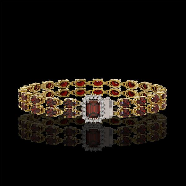 14.45 ctw Garnet & Diamond Bracelet 14K Yellow Gold - REF-236R4K