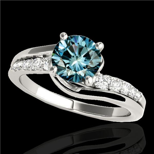 1.31 ctw SI Certified Fancy Blue Diamond Bypass Ring 10k White Gold - REF-117X3A