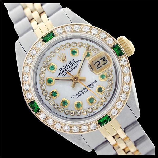 Rolex Men's Two Tone 14K Gold/SS, QuickSet, Diam/Emerald Dial & Diam/Emerald Bezel