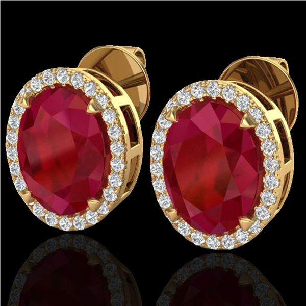 5.50 ctw Ruby & Micro VS/SI Diamond Halo Earrings 18k Yellow Gold - REF-81X8A