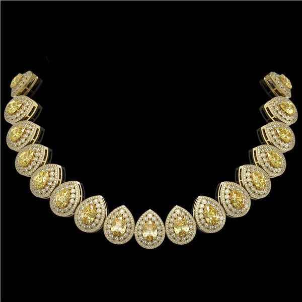103.62 ctw Canary Citrine & Diamond Victorian Necklace 14K Yellow Gold - REF-3002M4G
