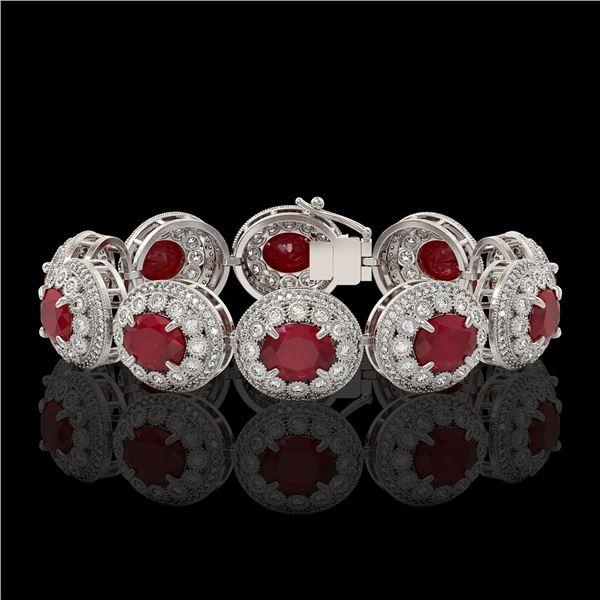49.17 ctw Certified Ruby & Diamond Victorian Bracelet 14K White Gold - REF-1369W3H