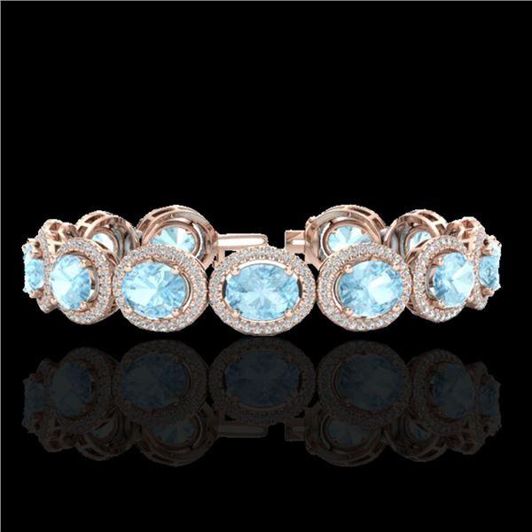 23 ctw Aquamarine & Micro Pave VS/SI Diamond Bracelet 10k Rose Gold - REF-436N4F